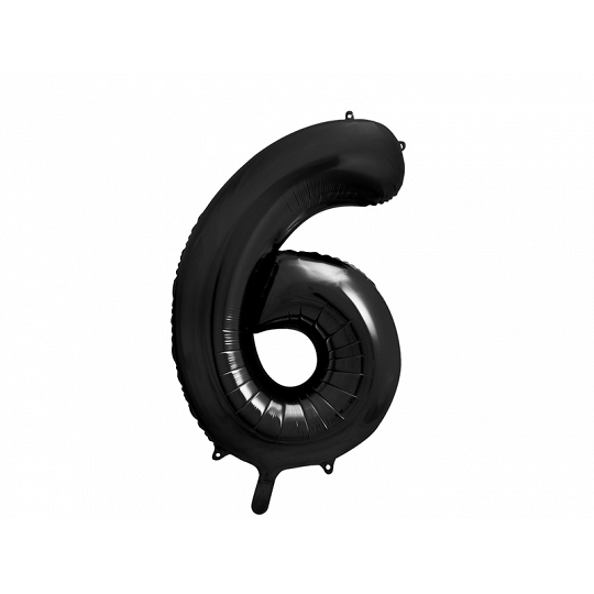 """Balon foliowy Cyfra """"6"""", 86cm, czarny"""