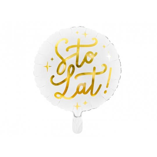 Balon foliowy Sto lat!, 35cm, biały