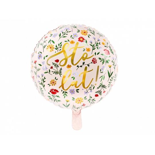 Balon foliowy Sto lat!, 35cm, jasny różowy