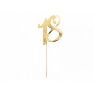 """Topper na tort """"18"""", złoty, 20.5cm"""
