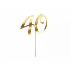 """Topper na tort """"40"""", złoty, 20.5cm"""