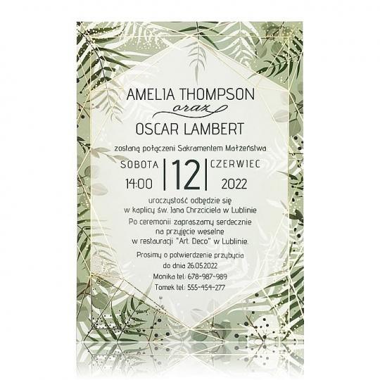 Jednostronne zaproszenia ślubne z motywem zielonych liści