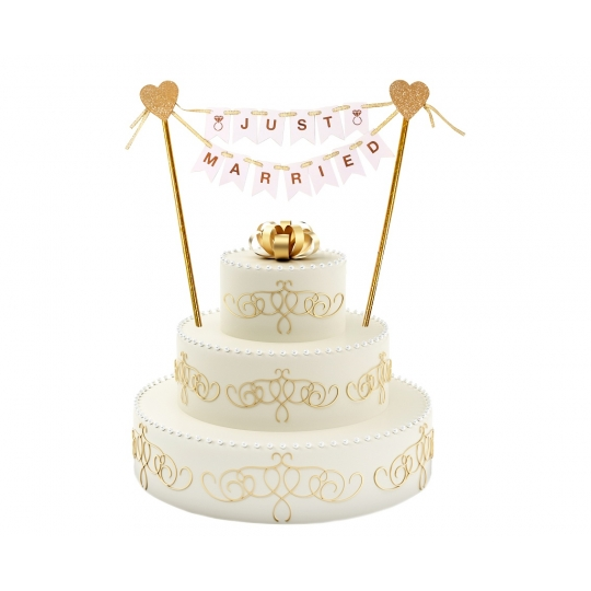 """TOPPER na tort weselny """"Just Married"""""""