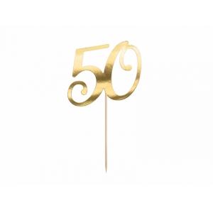 """Topper na tort """"50"""", złoty, 20.5cm"""