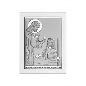 Obrazek Srebrny na Pierwszą Komunię 11x15 cm17,2x12,5 cm