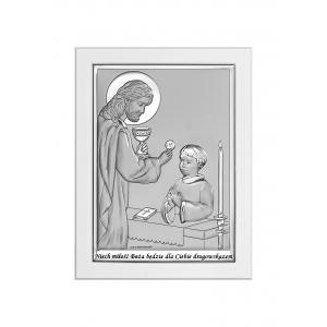Obrazek Srebrny na Pierwszą Komunię 11x15 cm