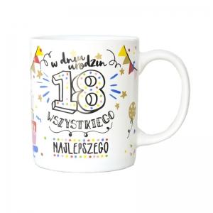 """Kubek na """"18 urodziny"""" konfetti"""