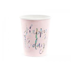 Kubeczki Happy B'day!, jasny pudrowy róż, 220ml