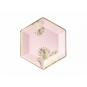 Talerzyki Liście, jasny różowy, 23cm