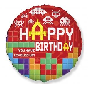 """Balon foliowy URODZINOWY - Happy Birthday - TETRIS 18"""""""