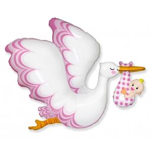 Balon foliowy 24 cale FX - Bocian Baby Girl