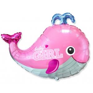 """Balon foliowy 24"""" FX - Baby Girl, wieloryb"""