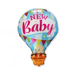 """Balon foliowy 24"""" FX - Bobas w balonie - New Baby, niebieski"""