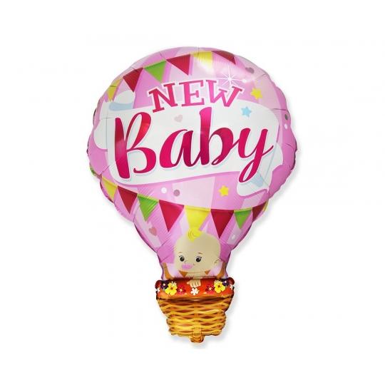 """Balon foliowy 24"""" FX - Bobas w balonie - New Baby, różowy"""