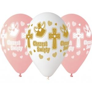 Balony CHRZEST dziewczynki, 13 cali / 5 szt.