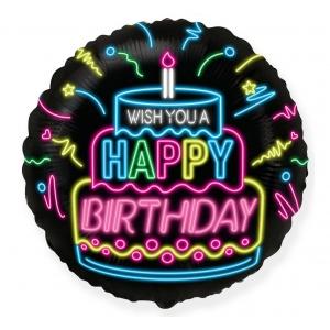Balon foliowy 18 cali FX - Happy Birthday- NEON
