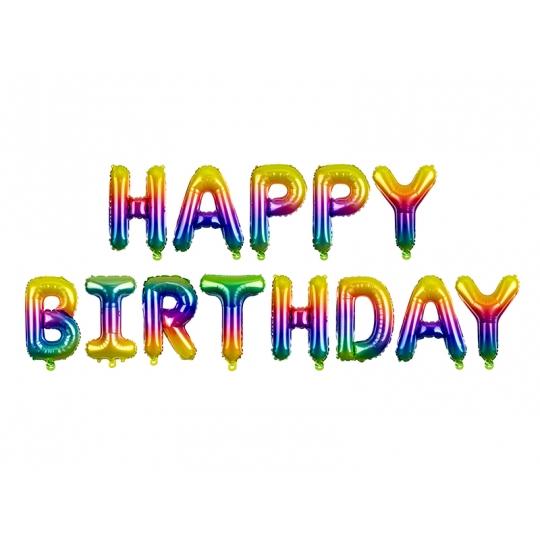 Balon foliowy Happy Birthday, 340x35cm, tęczowy