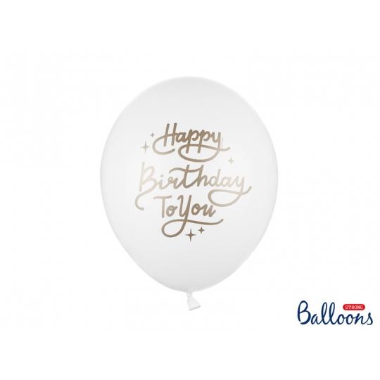 Balony 30 cm, Happy Birthday To You, Pastel Pure White