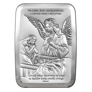 Obrazek Srebrny z Aniołem Stróżem 9x13cm