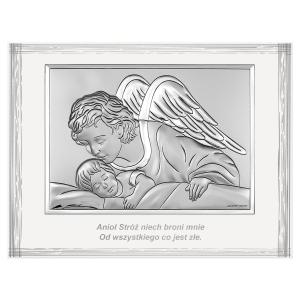 Obrazek Srebrny z Aniołem czuwającym 9x12cm nad dzieckiem