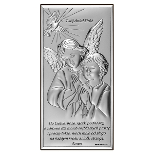Obrazek Srebrny z Aniołem Stróżem 6x12cm