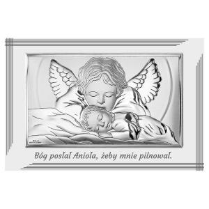 Obrazek Srebrny z modlącym się Aniołkiem 11x9,6cm