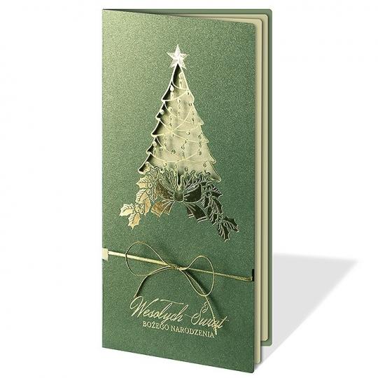 Kartka Świąteczna ze złotą choinką FS1050Z