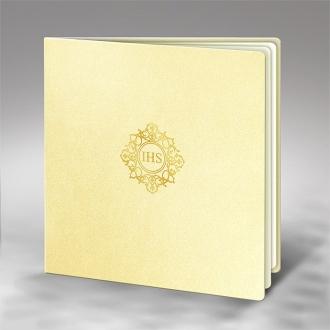 Zaproszenie na Komunię złocone IHS K5tz