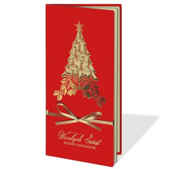 Kartka Świąteczna ze złotą choinką FS1050C