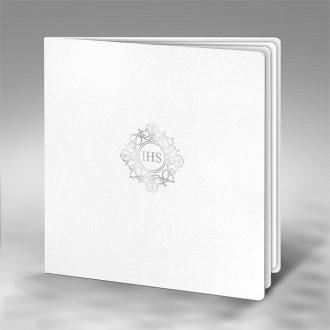 Zaproszenie na Komunię białe kwadratowe IHS K5tb