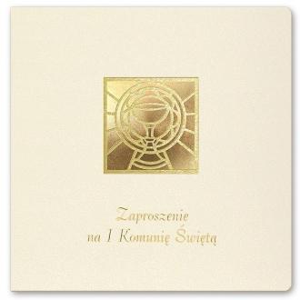 Zaproszenie na Komunię kremowe złocone K1o