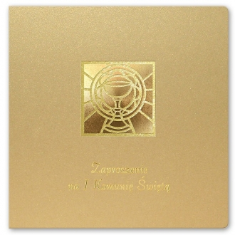 Zaproszenia Komunijne z akcentem religijnym kremowe złocone K1sz