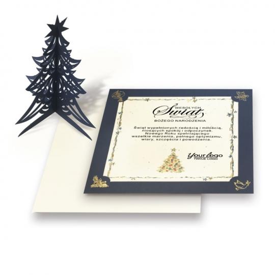 Kartka świąteczna z wyciętą laserowo choinką 3D FS1026