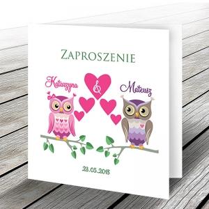 Zaproszenie Ślubne z Parą Sów WZ41