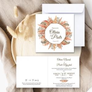 Zaproszenie ślubne z trawą pampas