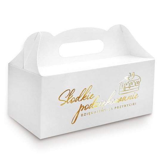 """Złocone pudełko na ciasto """" Dziękujemy za przybycie """""""