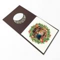 Kartka Świąteczna religijna złocona z wizerunkiem rodziny Świętej
