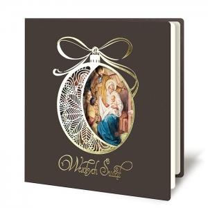 Kartka Świąteczna religijna złocona