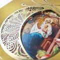 Kartka Świąteczna z logo. Religijna złocona z wizerunkiem rodziny Świętej