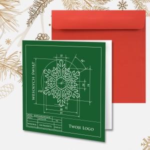 Kartka świąteczna z logo oraz rysunkiem technicznym
