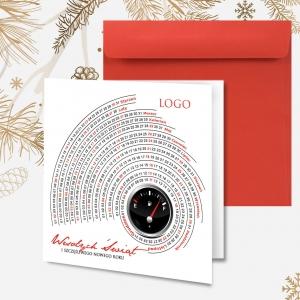 Kartka świąteczna dla firm transportowych z logo oraz wizerunkiem ciężarówki