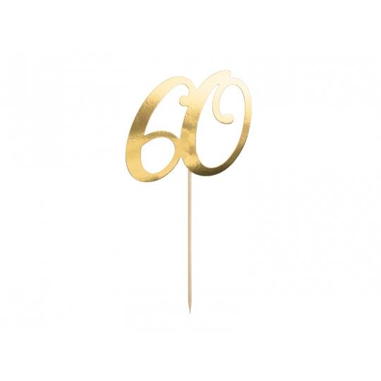 """Topper na tort """"60"""", złoty, 20.5cm"""