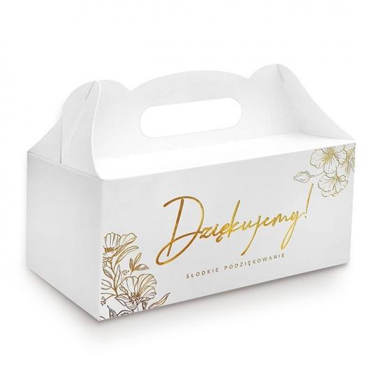 """Złocone pudełko na ciasto """" Słodkie podziękowania """""""