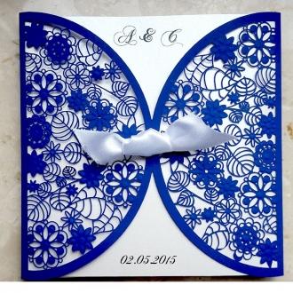 Zaproszenia Ślubne Niebieskie F1198b
