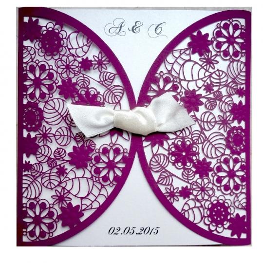 Zaproszenia Ślubne wykonane z papieru w kolorze purpurowym F1198p