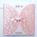 Zaproszenia Ślubne wykonane z papieru w kolorze różowym F1198r