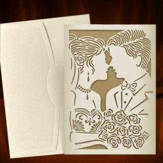 Zaproszenia Ślubne z Tłoczeniami Młodej Pary A3701