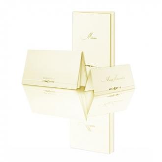 Zestaw zaproszeń ślubnych składający się z zaproszenia ślubnego, menu weselnego i winietki na stół Verona