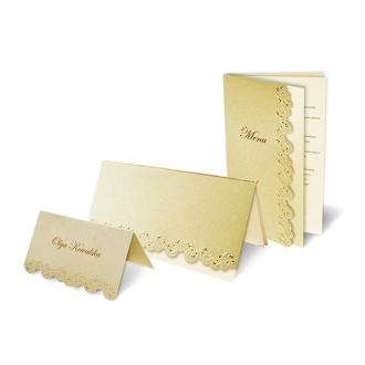 Zestaw zaproszeń ślubnych składający się z zaproszenia ślubnego, menu weselnego i winietki na stół Aspen