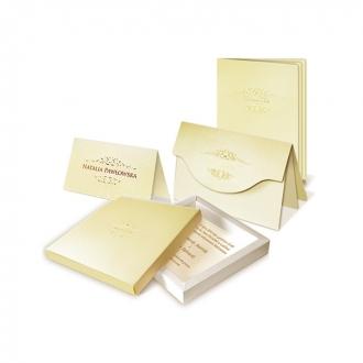 Zestaw zaproszeń ślubnych składający się z zaproszenia ślubnego, menu weselnego i winietki na stół Elegance